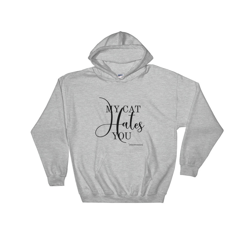 """Cat Hates You"" Unisex Hoodie (Black Text)"