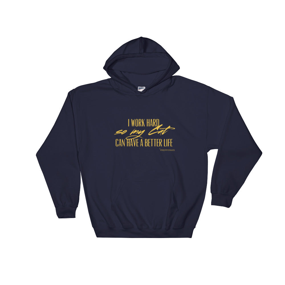 """Work Hard - Cat"" Unisex Hoodie (Gold Text)"