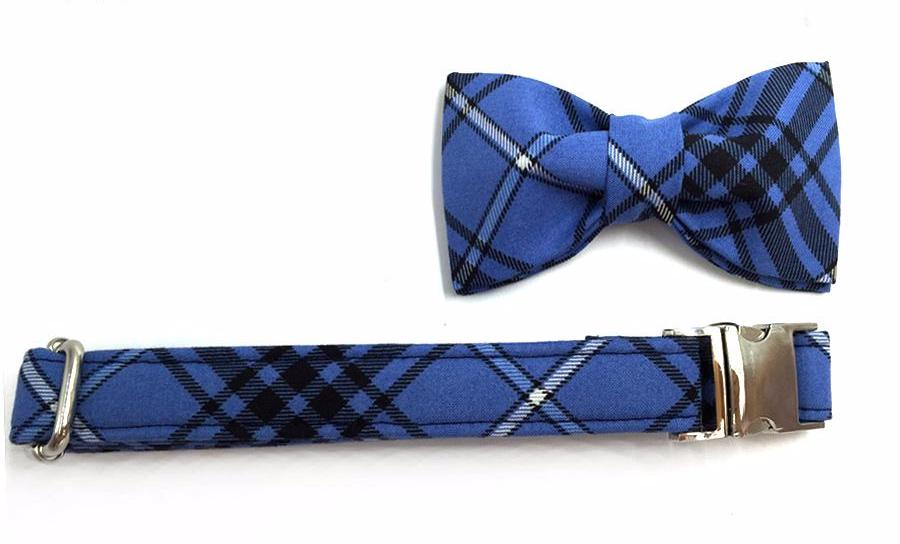 Blue&Black Plaid Collar with Bow Tie