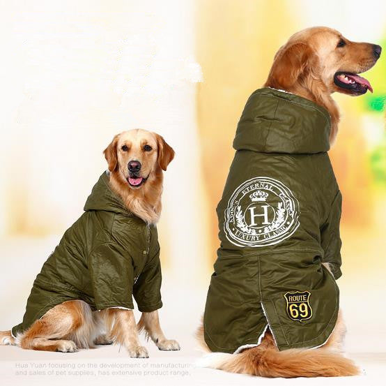 Large Army Green Jacket for Large Dog