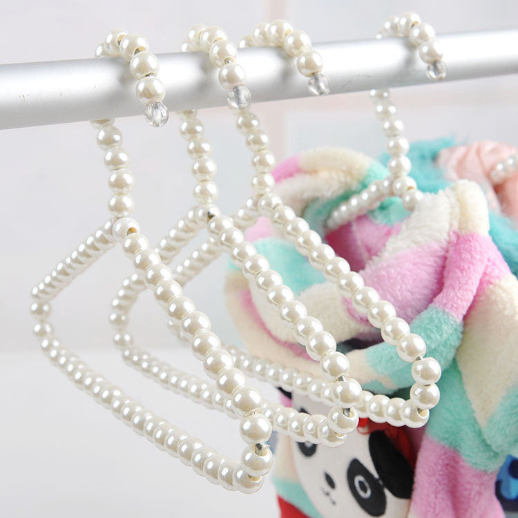 2 White Pearl Pet Clothes Hangers