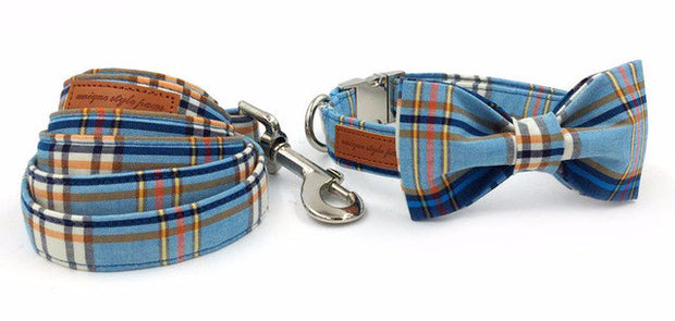 Blue&Stripes Collar with Bow Tie and Lead