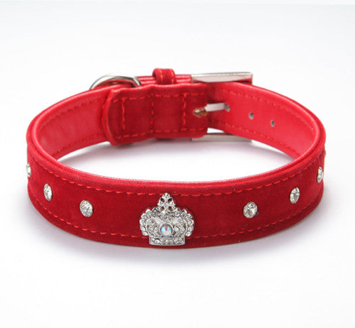 Rhinestones and Crown Dog Collar
