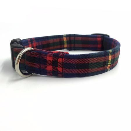 Green Tartan Print Collar with Bow Tie and Lead