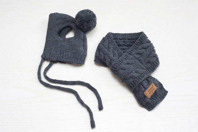 Knitted Hat with Pom Pom & Scarf