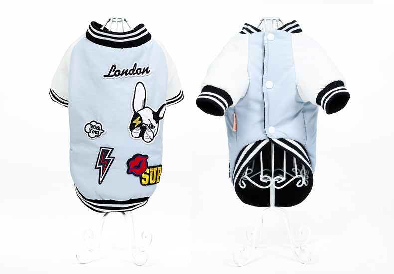 Blue or Pink Baseball Jacket with Patches