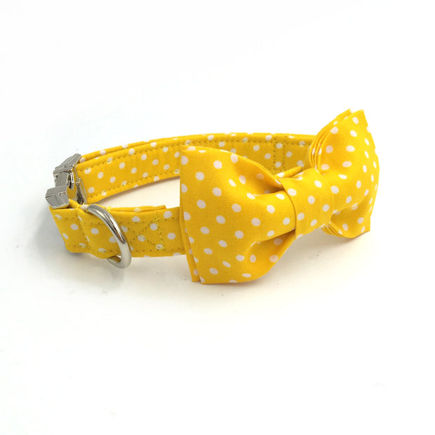 Yellow&White Polkadots Collar with Bow Tie