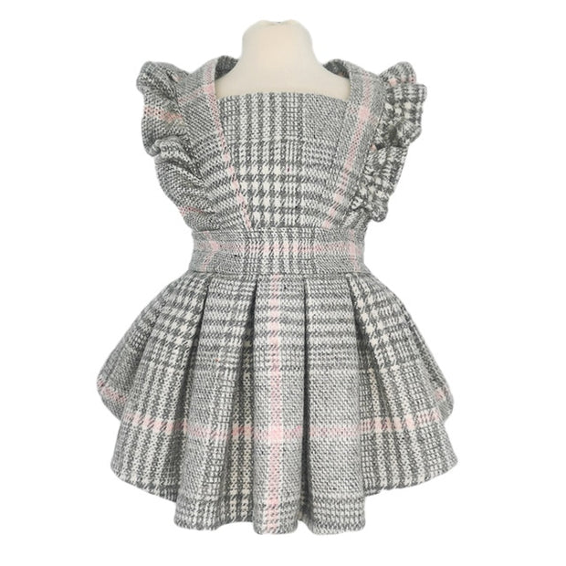 Grey&Pink Plaid Dress with Frills