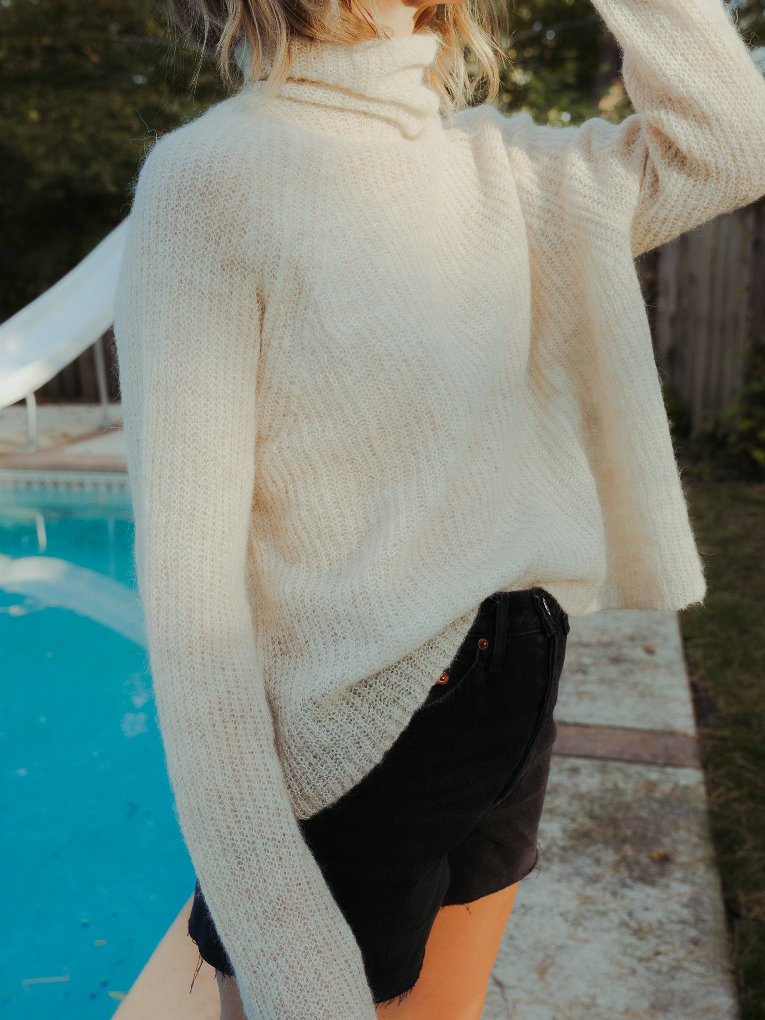 Soft Alpaca Turtleneck Sweater in Natural.