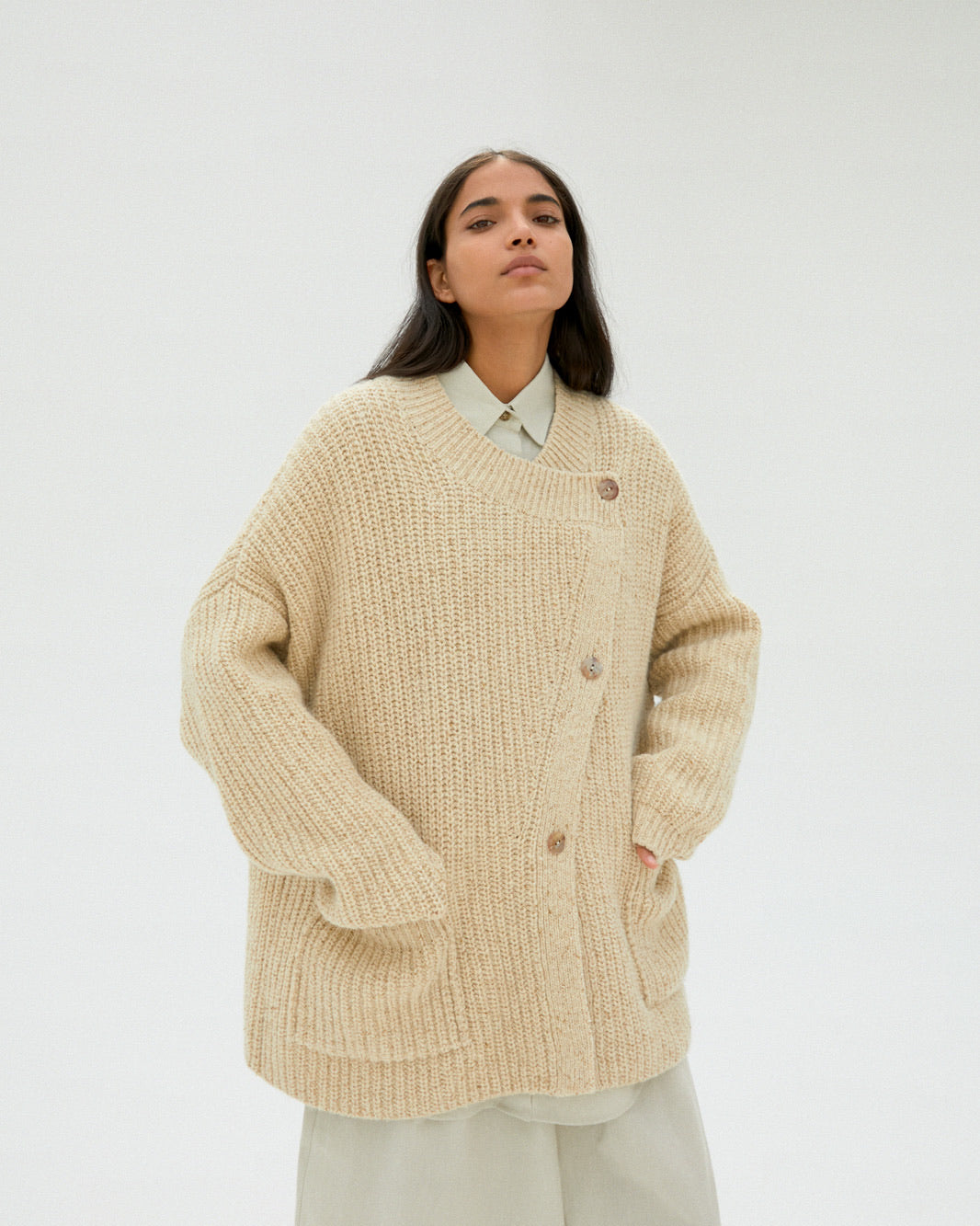 Chunky Soft Wool Cardigan in Natural.