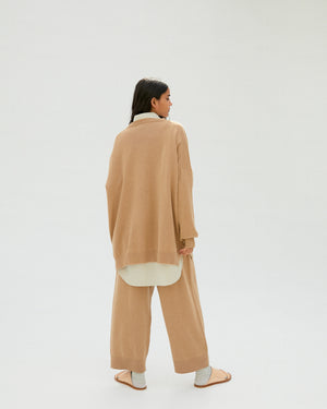 V-Neck Cashmere Sweater in Camel.