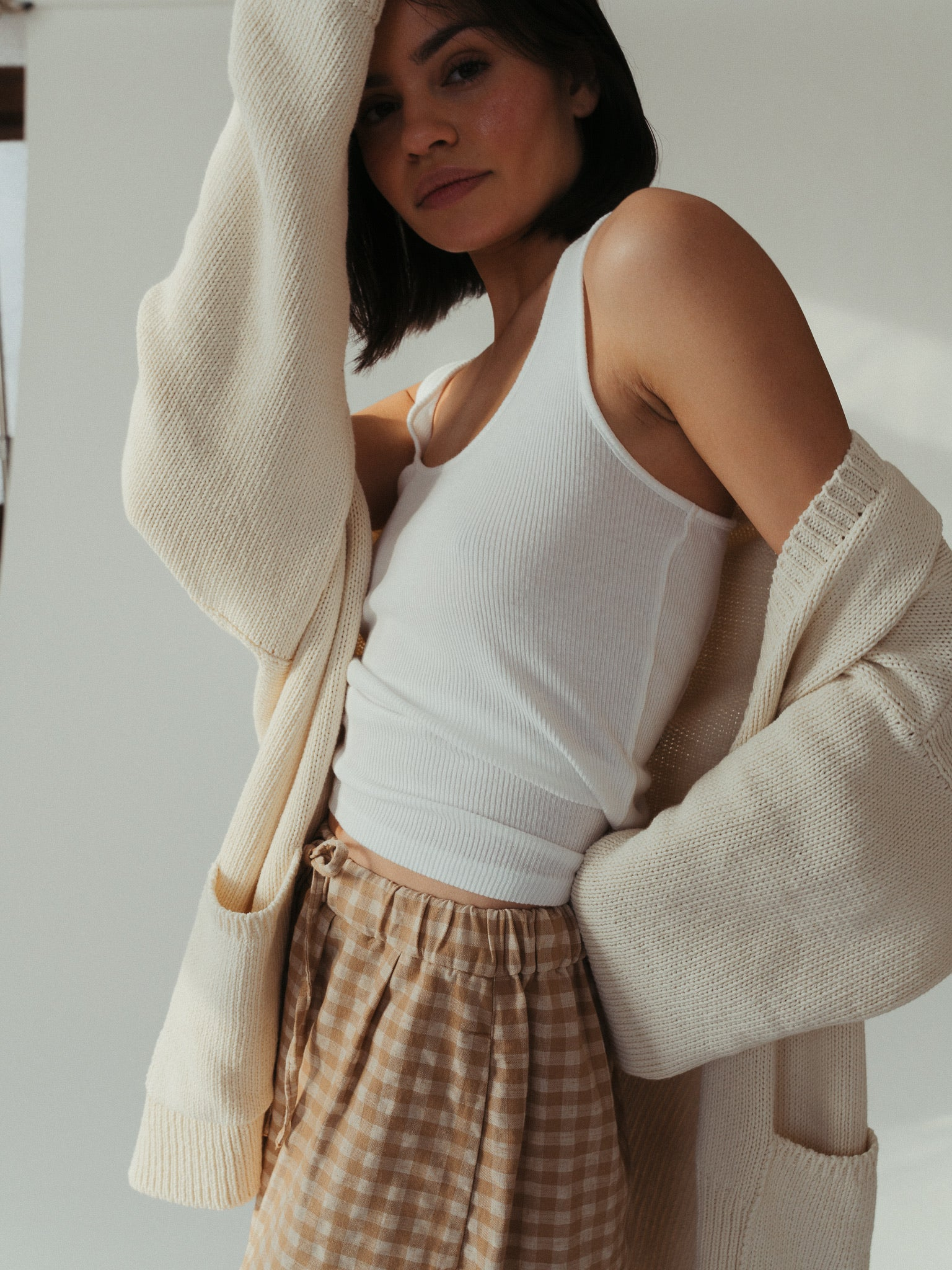 chunky cardigan in natural.
