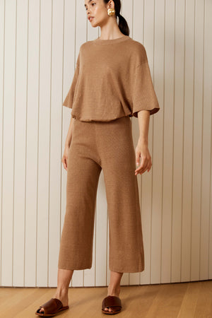 knit lounge pant in almond.