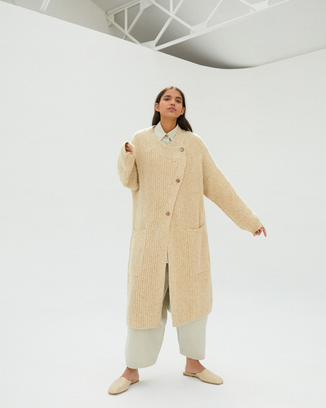 Chunky Soft Wool Knit Coat in Natural.