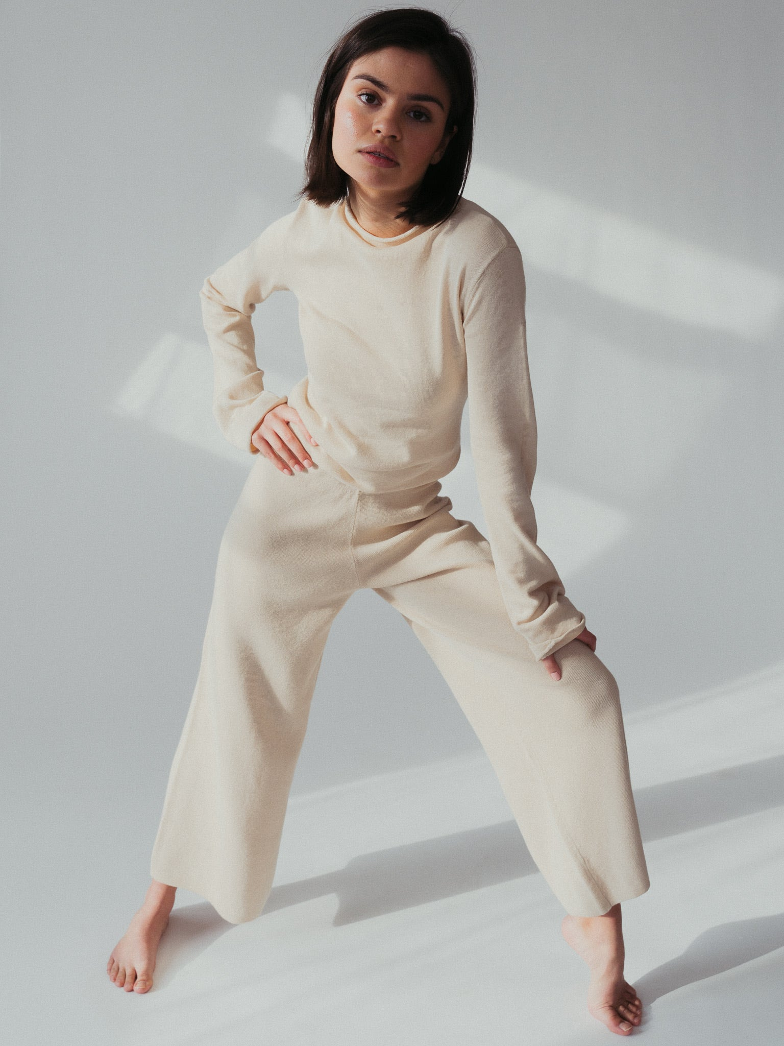 hemp knit lounge pant in ecru.