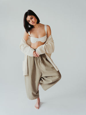 maxi ramie pants in smoked green.