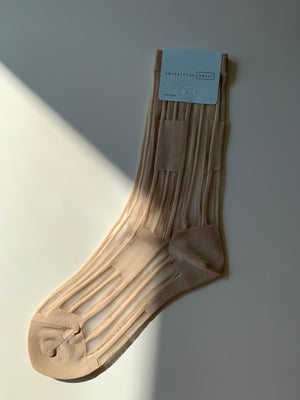 keys sheer crew in nude.