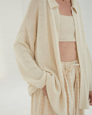 knit linen cardigan in natural.