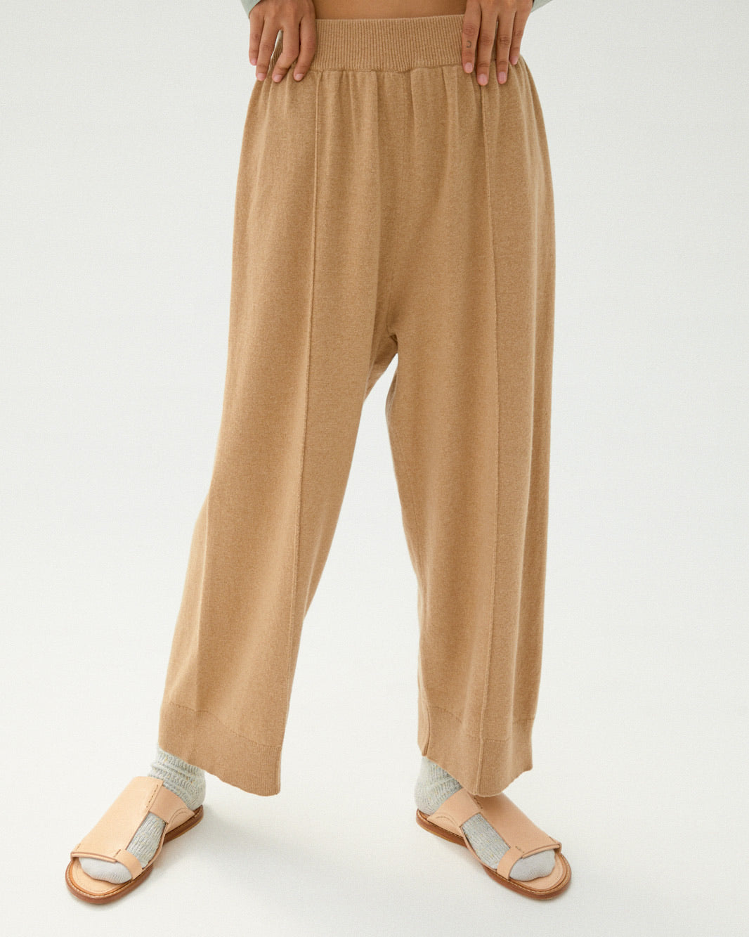 Cashmere Knit Pant in Camel.