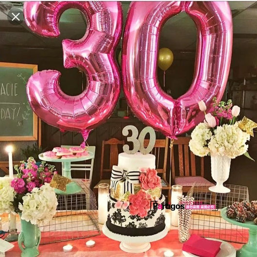 40 Inch Pink And Blue Numbers Aluminum Foil Helium Balloon Birthday