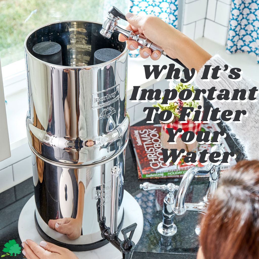 Picture of a woman refilling water to her Berkey with a phrase Why It's Important To Filter Your Water