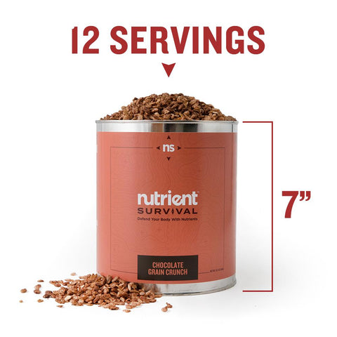 Nutrient Survival - Chocolate Grain Crunch Container Specs