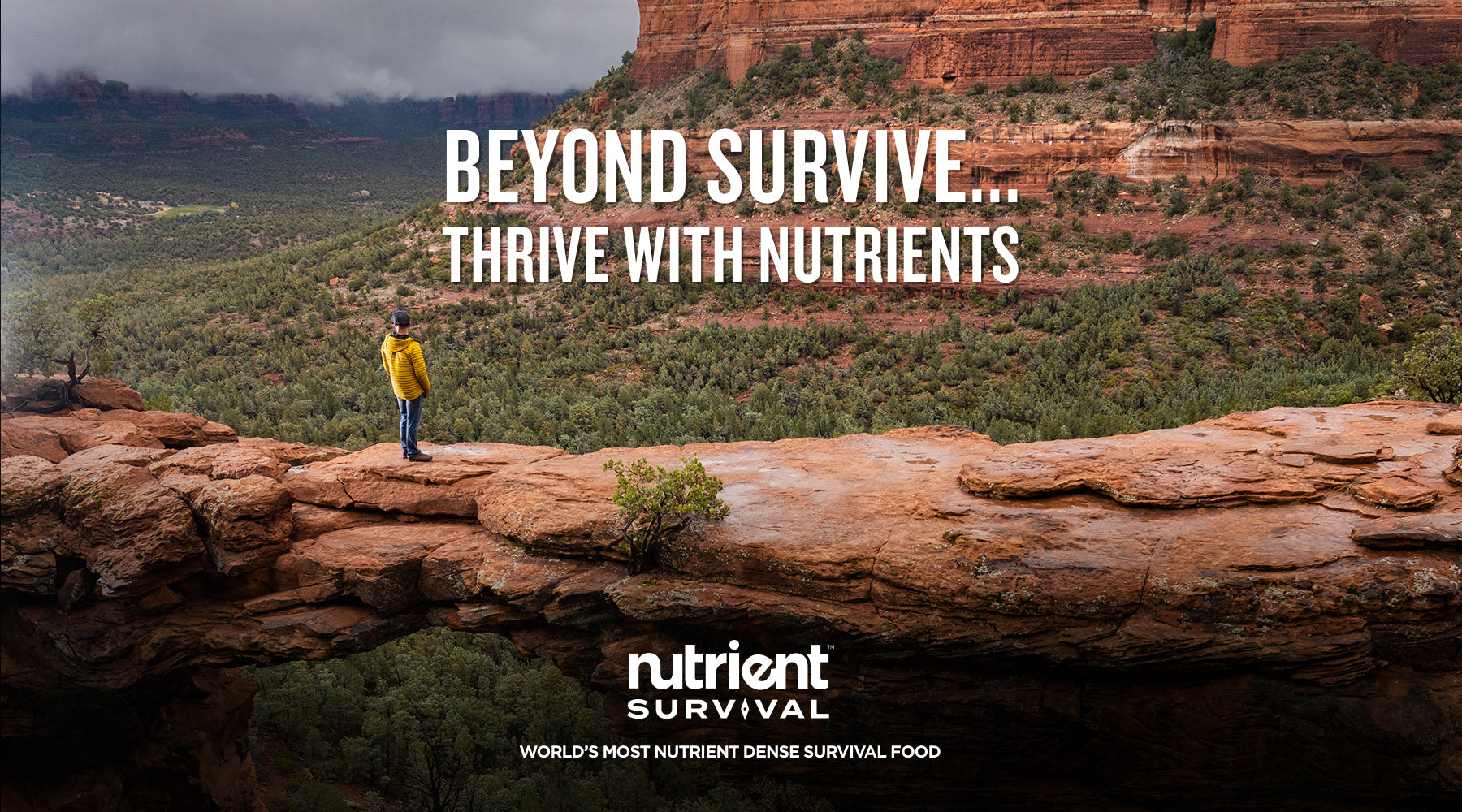 Picture of man hiking with Nutrient Survival food kit