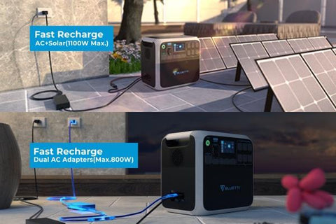 Photo of Bluetti - AC200P 2000Wh/2000W Portable Power Station charged in solar panels and wall charger.