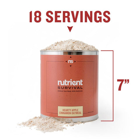 Nutrient Survival - Hearty Apple Cinnamon Oatmeal Container Specs