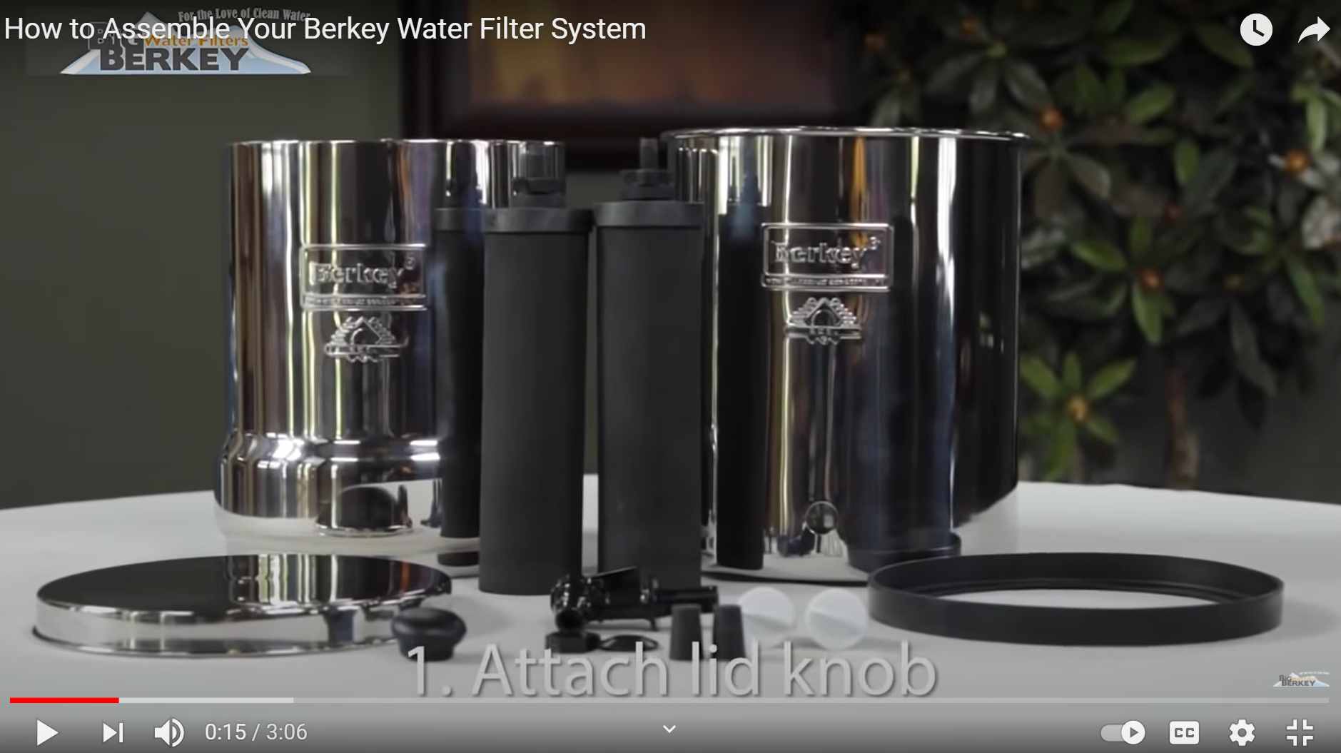 Screenshot for the video How to Assemble Your Berkey Water Filter System