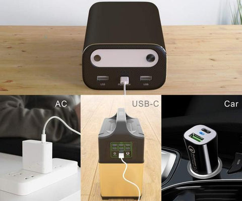 Photo of the Three Ways To Charge The Bluetti AC10. Plug it into the wall, Recharge from your car 12V adapter and Recharge from your power station USB-c port.