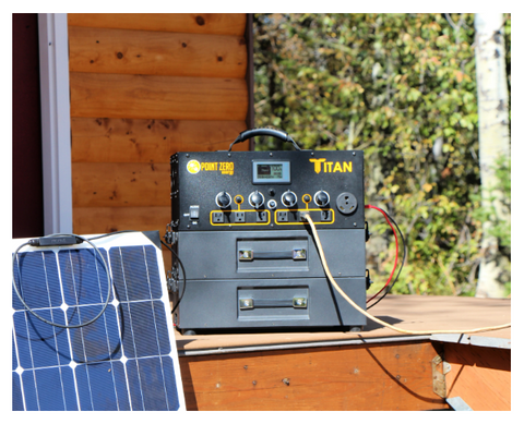 Picture of the Titan Solar generator with two batteries beside a Solar Panel outdoor.