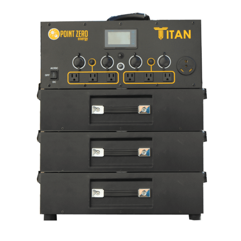 Picture of the Titan Solar Generator with three batteries.