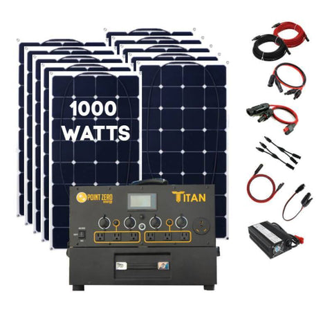 Picture of the Titan Solar Generator with 10 100 watt flexible solar panels (1,000 watts), with the wires and connectors on the right