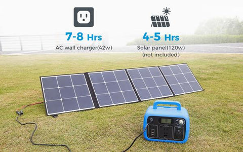 Photo of Bluetti - AC30 300Wh/300W Portable Power Station charged in solar panels.