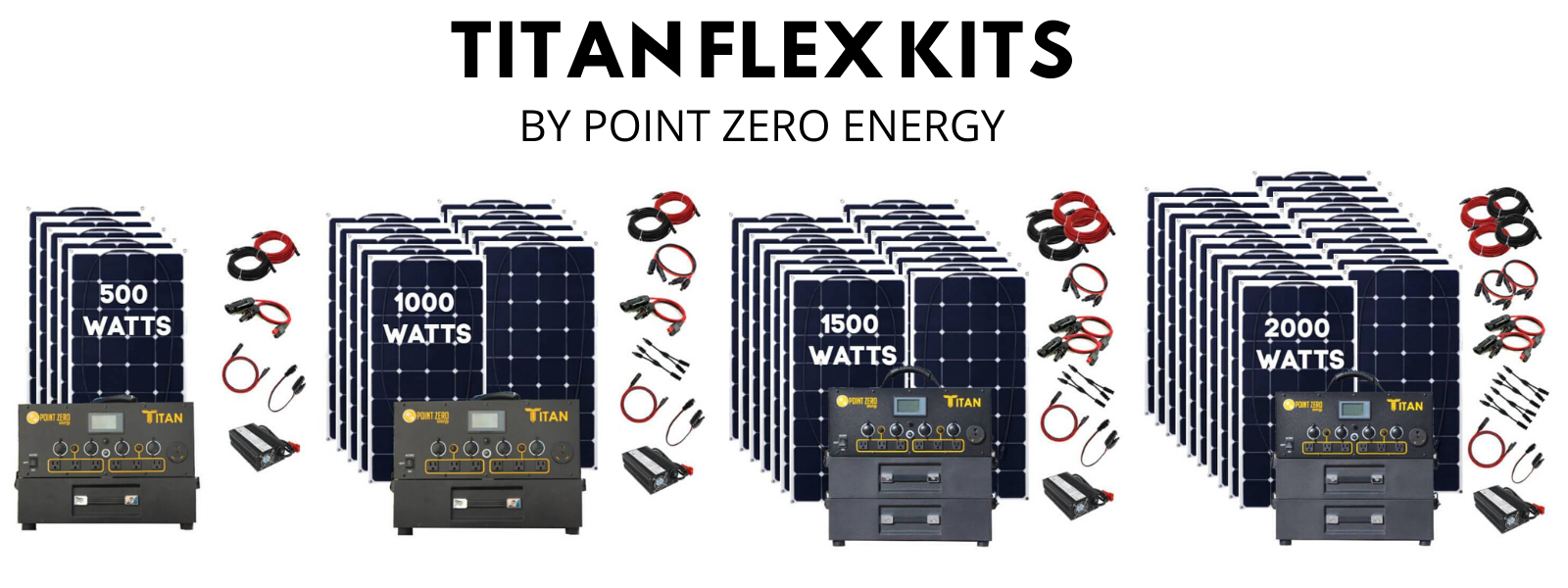 Picture of the Different Titan Flex Kits - 500 watts, 1000watts, 1500 watts and 2000 watts- Point Zero Energy Generators