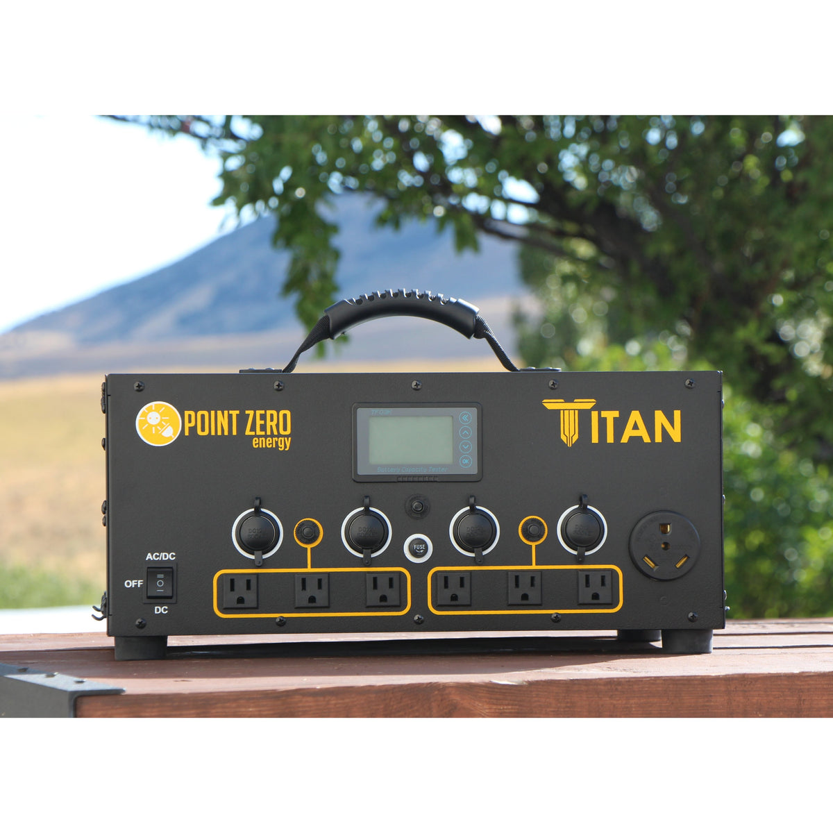 Picture of the Titan Solar Generator outdoor placed in a wooden base. - Point Zero Energy Generators