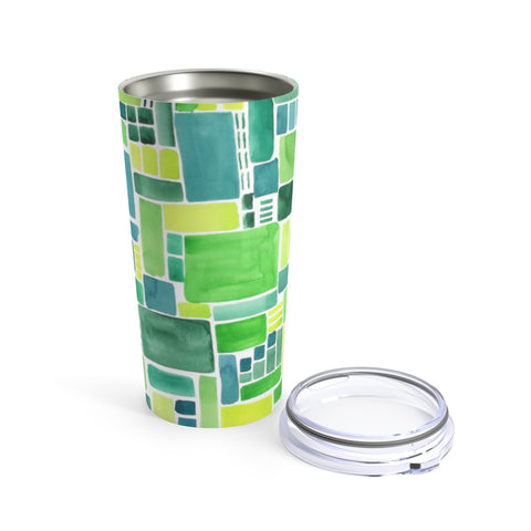 Green Watercolor Pattern Tumbler 20oz