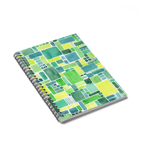 Green Geometric Watercolor Spiral Journal - Ruled Line
