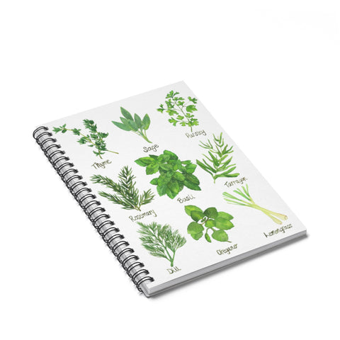 Herb Chart Spiral Journal - Ruled Line