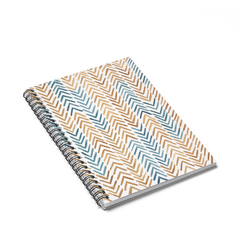 Arrow Pattern Spiral Journal - Ruled Line