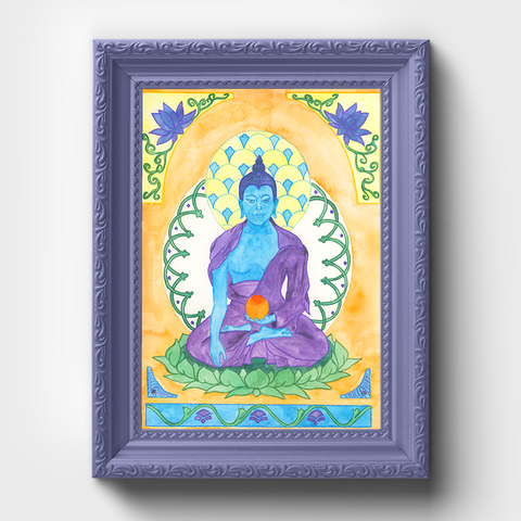 Buddha Watercolor Painting, Wall Art Print