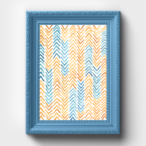 African Textile Arrow Watercolor Print