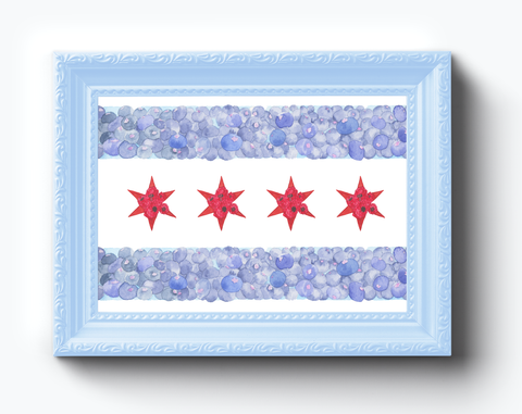 Chicago Flag Fruits Watercolor Print