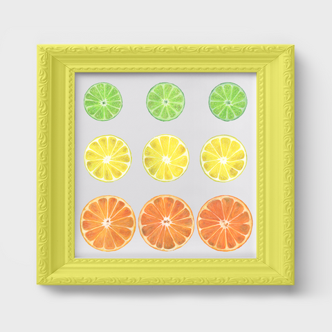 Citrus Slices Lemon Lime Watercolor Print
