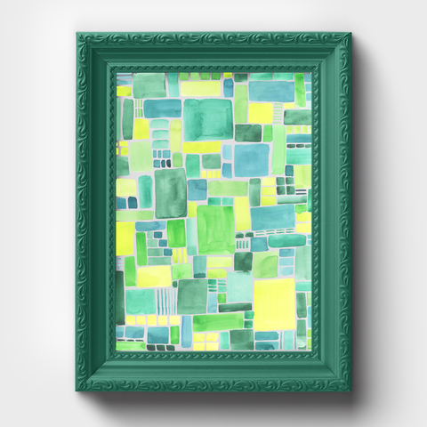 Green Pattern Geometric Watercolor Print