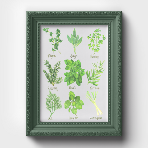 Herb Chart Kitchen Art Watercolor Print