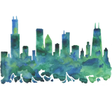 Chicago Skyline Blue Green Watercolor Print