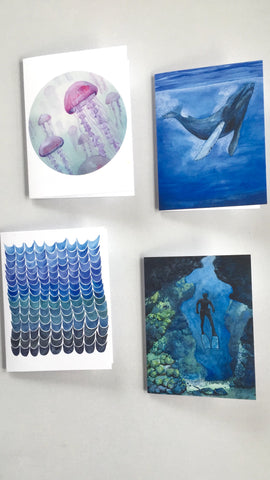Set of 4 Ocean Watercolor Blank Cards