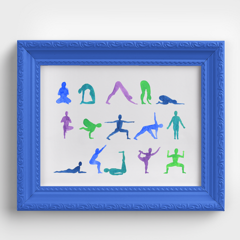 Yoga Pose Sequence Blue Watercolor Print